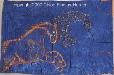 blue horse original art quilt by chloe findlay-harder