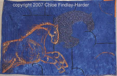 blue horse original art quilt by chloe findlay-harder