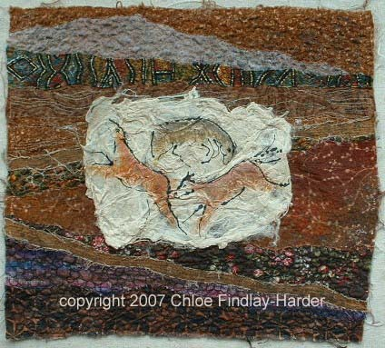 cave horses original art quilt by chloe findlay-harder